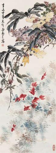 马万里(1904~1979) 1931年作 清趣 立轴 设色纸本
