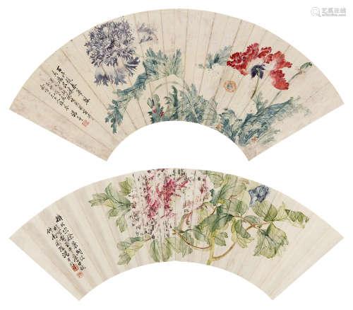 汤世澍(1831~1902) 花卉 (二帧) 镜心 设色纸本