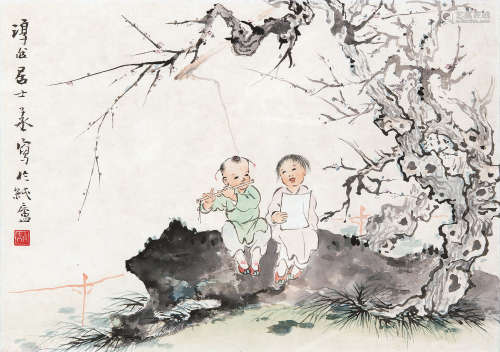 沈子丞(1904~1996) 童趣 镜框 设色纸本