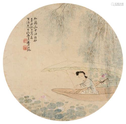 费丹旭(1802~1850) 1841年作 红藕莲舫图 镜框 设色绢本