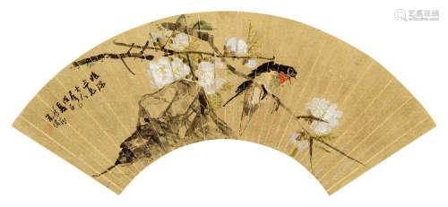 朱梦庐(1826~1900) 1848年作 花鸟 镜框 设色金笺纸