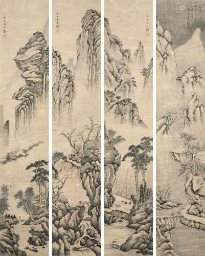 周棠(1806~1876) 山水 四条屏 立轴 水墨纸本
