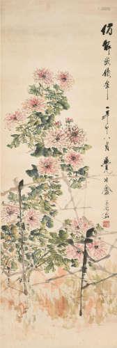 虚谷(1823~1896) 东篱秋菊 立轴 设色纸本