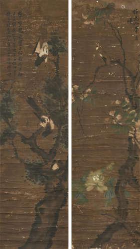 夏銮(约1802~1854) 花鸟 双幅 镜心 设色纸本