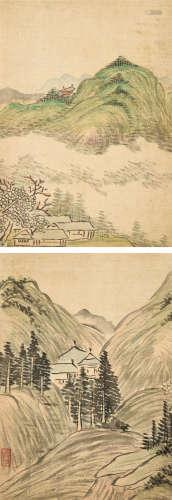 黄燮清(1805~1864) 山水 双挖 立轴 设色绢本