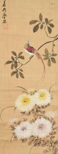 张士保(1805~1878) 花鸟 立轴 设色绢本