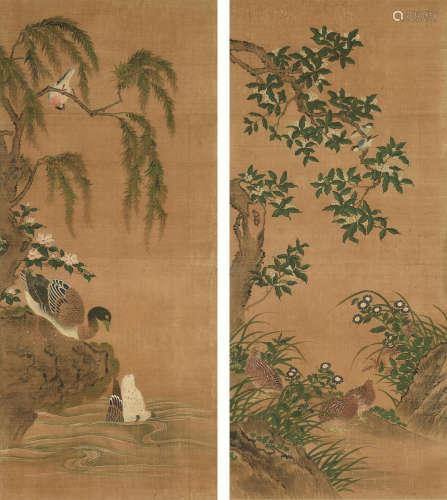 佚名 花鸟 双幅 立轴 设色绢本