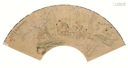 费丹旭(1802~1850) 东坡夜宴桃李图 扇面 镜心 设色纸本