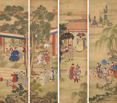 佚名 人物故事 四条屏 立轴 设色绢本