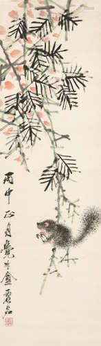 虚谷(1823~1896) 松鼠 立轴 设色纸本
