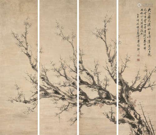 胡公寿(1823~1886) 通景梅花 四条屏 立轴 设色纸本