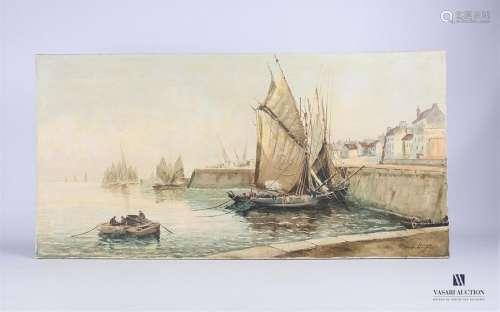 G. Luigi (XXème siècle) Le port de Concarneau Huil…