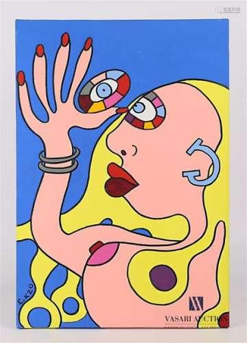 E.KZO (XXème siècle) Triptyque : Les Gambettes Voy…