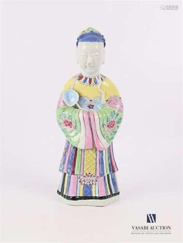 CHINE Sujet en porcelaine blanche à décor poychrom…