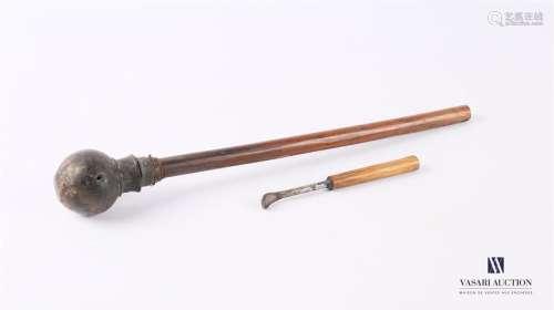 ASIE Pipe à opium en bois naturel et tissu Long. P…