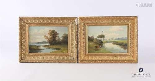 REY H. (XXème siècle) Paysage lacustre Scéne de pê…