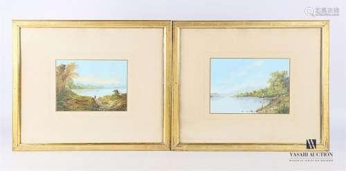 MADELAINE (XXème siècle) Vues de lac animées Deux …