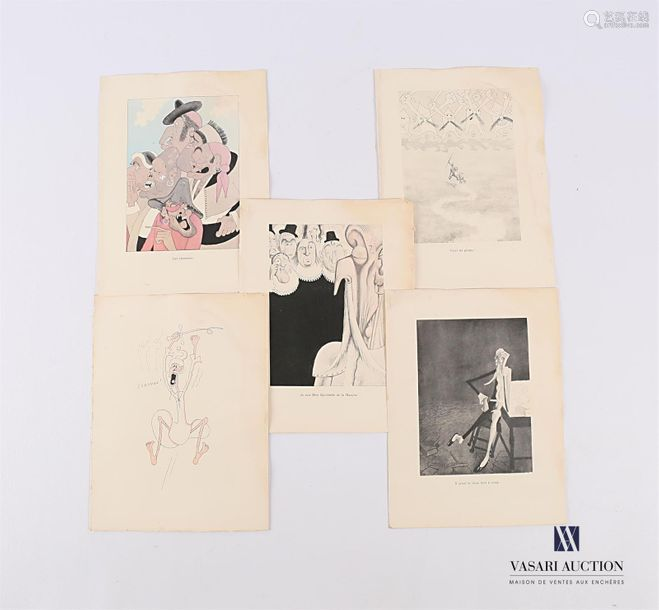 Lot de cinq lithographies extraites de l'ouvrage D…