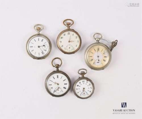 Lot de cinq montres de gousset dont deux la montur…