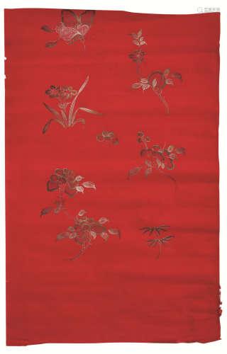 清代 花卉寿桃纹宫绢