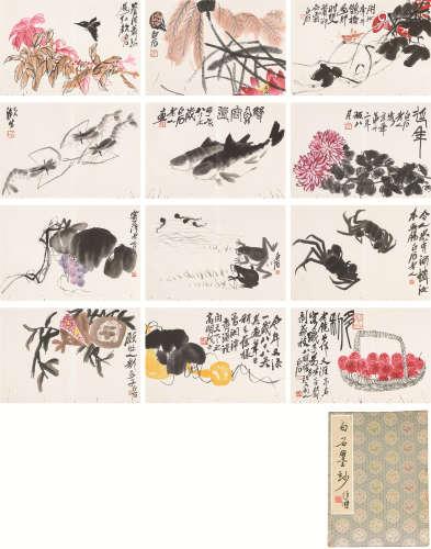 《白石墨妙》木板水印 册页 十二开 设色/水墨纸本