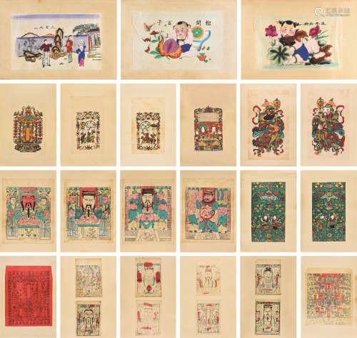 杨柳青年版画 四十八幅 镜心 设色纸本