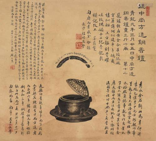魏中尚方造铜香炉 拓片 立轴 水墨纸本
