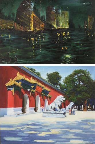 佚名TingSon 故宫一角 夜港渔船 油画 (二幅)