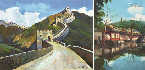 大海 万里长城 青光 湖畔寺院 油画 (二幅)