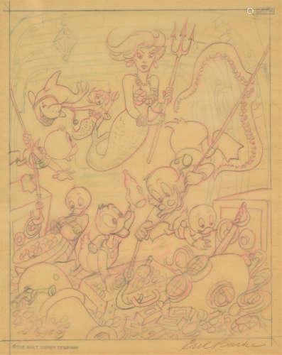 卡尔·巴克斯(Carl Barks) 唐老鸭海底寻宝 原稿 纸本铅笔线描