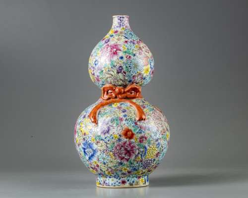 A Chinese millefleurs double-gourd vase
