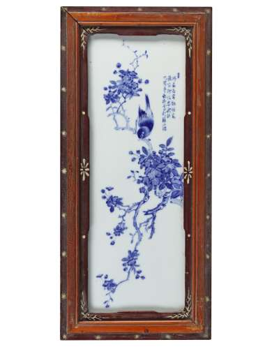 A Chinese blue and white 'bird' plaque