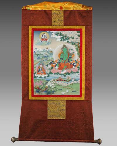 A Tibetan ritual painting of Green Tara
