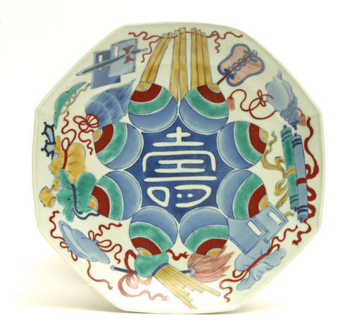 """Octogonal polychrome-ware Nabeshima so-called """"one feet"""" plate decorated with auspicious treasures"""