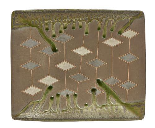 A Japanese rectangular stoneware tray