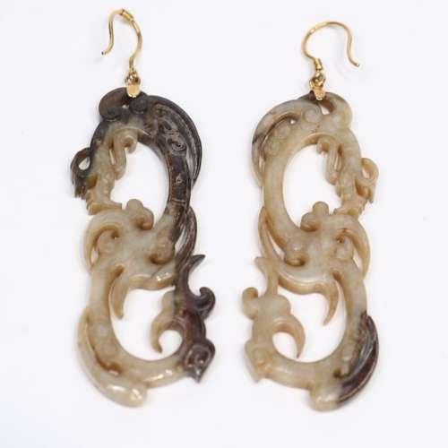 Pair Of Carved Jade Earrings
