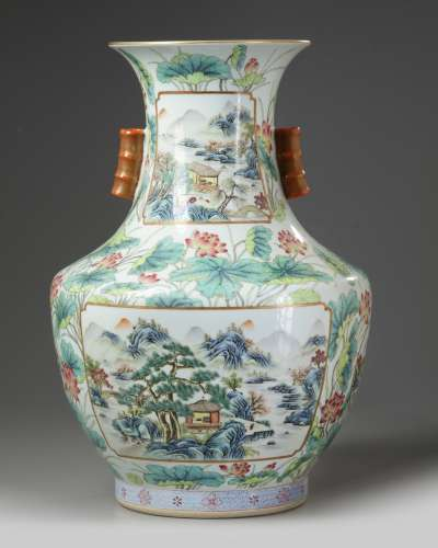 A Chinese famille rose 'landscape and lotus' vase, hu
