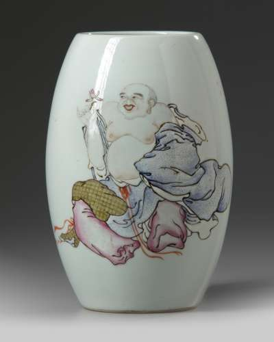 A Chinese famille rose 'Budai' ovoid vase