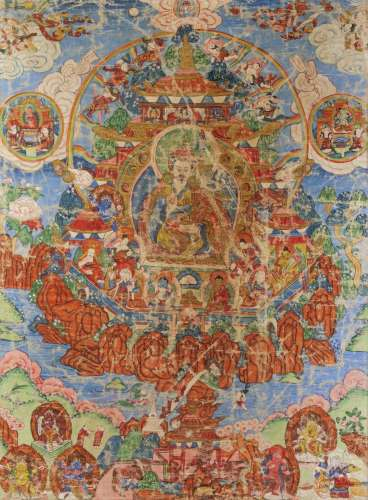 A framed thangkha painting