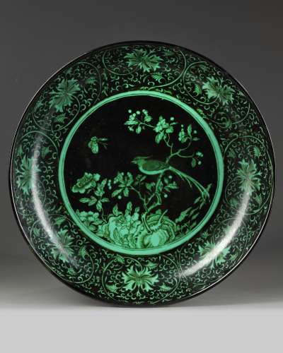 A Chinese green and black ground charger