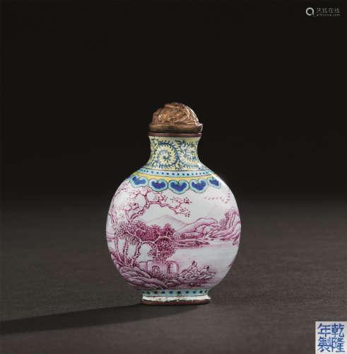 清代 铜胎画珐琅山水纹鼻烟壶