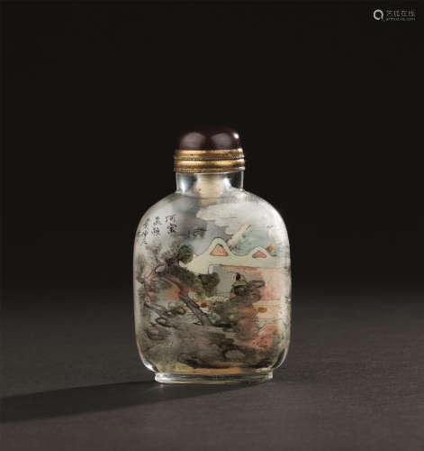 清代 叶仲三 玻璃内画人物故事纹鼻烟壶