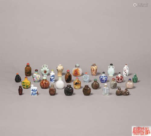 清代 各式玛瑙 料器 粉彩人物纹鼻烟壶 (一批)