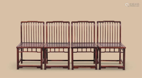 红木梳背椅 (四件一组)