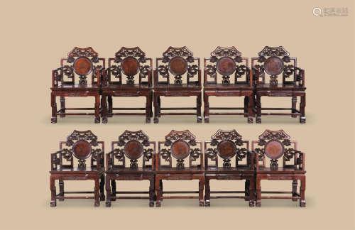 清代 红木如意云纹太师椅 (十件一组)