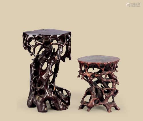 木根雕随形花台 (二件一组)