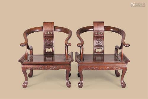 红木螭龙纹太师椅 (一对)