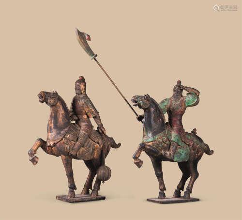 木雕彩绘武士骑马像 (二件一组)