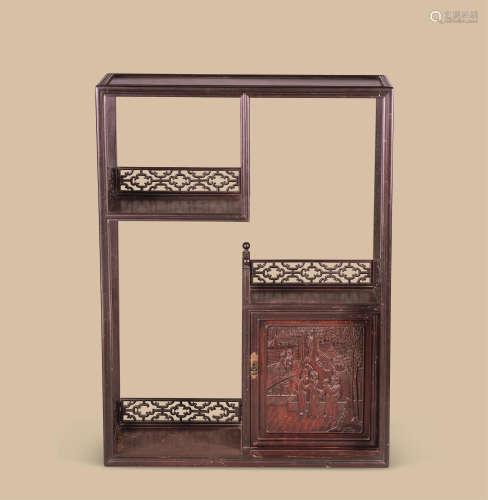 红木雕人物纹博古柜
