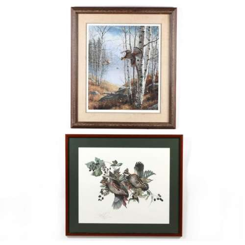 Two Nature Prints with Birds